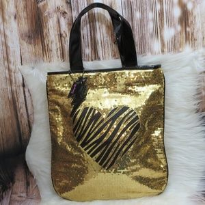 LIKE NEW! Betsey Johnson Gold Sequin Tote